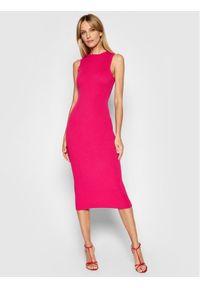 Kontatto Sukienka dzianinowa 3M7227 Różowy Slim Fit. Kolor: różowy. Materiał: dzianina