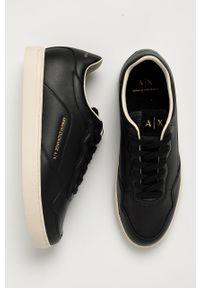 Czarne sneakersy Armani Exchange na sznurówki, z cholewką, z okrągłym noskiem