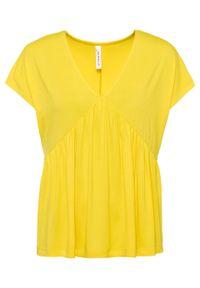 T-shirt z dekoltem w serek bonprix żółty cytrynowy. Typ kołnierza: dekolt w serek. Kolor: żółty
