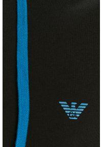 Czarna bluza rozpinana Emporio Armani na co dzień, casualowa, z nadrukiem, z kapturem