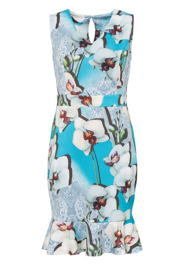 Sukienka ołówkowa z falbaną bonprix niebiesko-biały w kwiaty. Kolor: niebieski. Wzór: kwiaty. Typ sukienki: ołówkowe