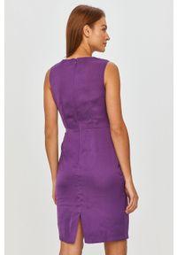 Fioletowa sukienka Answear Lab bez rękawów, prosta, mini, na co dzień