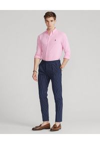 Ralph Lauren - RALPH LAUREN - Różowa koszula Featherweight Mesh. Typ kołnierza: polo. Kolor: różowy, wielokolorowy, fioletowy. Materiał: mesh. Długość rękawa: długi rękaw. Długość: długie. Wzór: haft, ze splotem