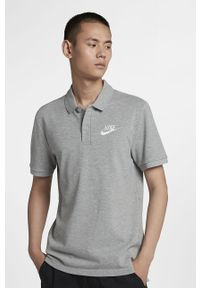 Szara koszulka polo Nike polo, casualowa, krótka, na co dzień