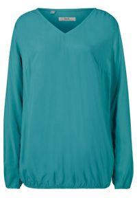Niebieska bluzka bonprix z dekoltem w serek, z długim rękawem, długa