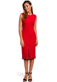 Style - Ołówkowa sukienka z rozcięciem i koronką. Materiał: koronka. Długość rękawa: bez rękawów. Wzór: koronka. Typ sukienki: ołówkowe. Styl: wizytowy, klasyczny