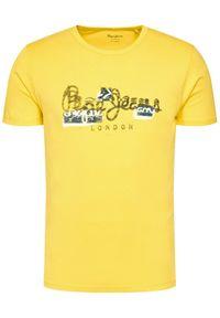 Pepe Jeans T-Shirt Salomon PM507272 Żółty Regular Fit. Kolor: żółty
