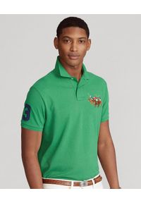 Ralph Lauren - RALPH LAUREN - Zielona koszulka polo Custom Slim Fit. Typ kołnierza: polo. Kolor: zielony. Materiał: bawełna, prążkowany. Długość: długie. Wzór: haft
