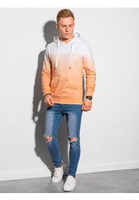 Ombre Clothing - Bluza męska z kapturem B1174 - jasnopomarańczowa - XXL. Typ kołnierza: kaptur. Kolor: pomarańczowy. Materiał: bawełna, jeans. Sezon: lato