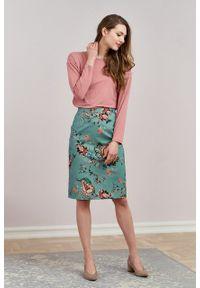 Marie Zélie - Spódnica Leto niebieska w kwiaty. Kolor: niebieski. Materiał: bawełna, wiskoza, materiał, elastan, skóra. Wzór: kwiaty