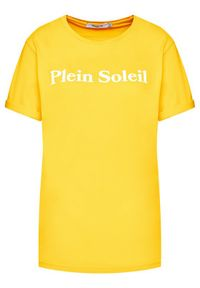 Drivemebikini T-Shirt Unisex Plein Soleil 2020-DRV-003_YEL Żółty Relaxed Fit. Kolor: żółty