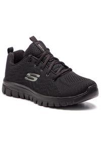 Czarne buty do fitnessu skechers na płaskiej podeszwie, z cholewką