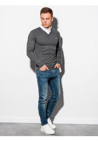 Szary sweter Ombre Clothing melanż, klasyczny, z dekoltem w serek #5