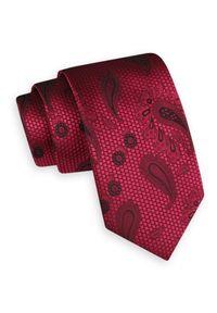 Czerwony Szeroki Krawat -Angelo di Monti- 7 cm, Męski, Malinowy, Wzór Paisley. Kolor: czerwony. Wzór: paisley. Styl: wizytowy, elegancki