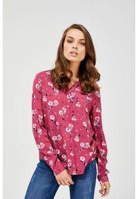 Różowa koszula MOODO z długim rękawem, ze stójką, długa
