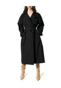 AGGI - Dwurzędowy czarny trencz Claude. Okazja: do pracy, na spacer. Kolor: czarny. Materiał: tkanina, żakard. Wzór: prążki. Sezon: wiosna
