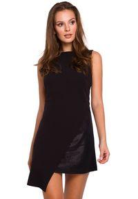 Makover - Elegancka sukienka z asymetrycznym połyskującym dołem. Okazja: na imprezę. Materiał: tkanina. Długość rękawa: bez rękawów. Wzór: gładki. Typ sukienki: asymetryczne. Styl: elegancki. Długość: mini