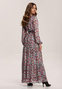 Renee - Czarna Sukienka Nymney. Kolor: czarny. Długość rękawa: długi rękaw. Wzór: kwiaty. Typ sukienki: kopertowe. Długość: maxi