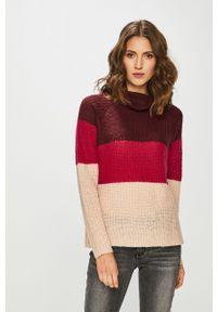 Brązowy sweter medicine raglanowy rękaw, z golfem, na co dzień, vintage