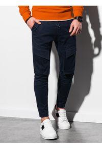 Ombre Clothing - Spodnie męskie joggery P999 - granatowe - XXL. Kolor: niebieski. Materiał: bawełna, elastan. Wzór: aplikacja