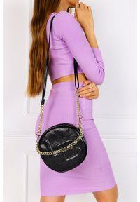 Laura Biaggi - Czarna torebka mała okrągła na łańcuszku laura biaggi js206. Kolor: czarny