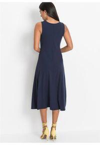 Letnia sukienka z guzikami bonprix ciemnoniebieski. Kolor: niebieski. Długość rękawa: bez rękawów. Wzór: prążki. Sezon: lato. Długość: midi