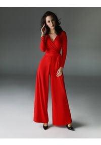 Madnezz - Kombinezon Flash - czerwony. Kolor: czerwony. Materiał: elastan, wiskoza, tkanina, dzianina, bawełna. Długość: długie. Wzór: aplikacja. Styl: elegancki