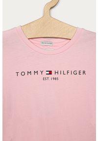 Różowa bluzka z krótkim rękawem TOMMY HILFIGER casualowa, z nadrukiem