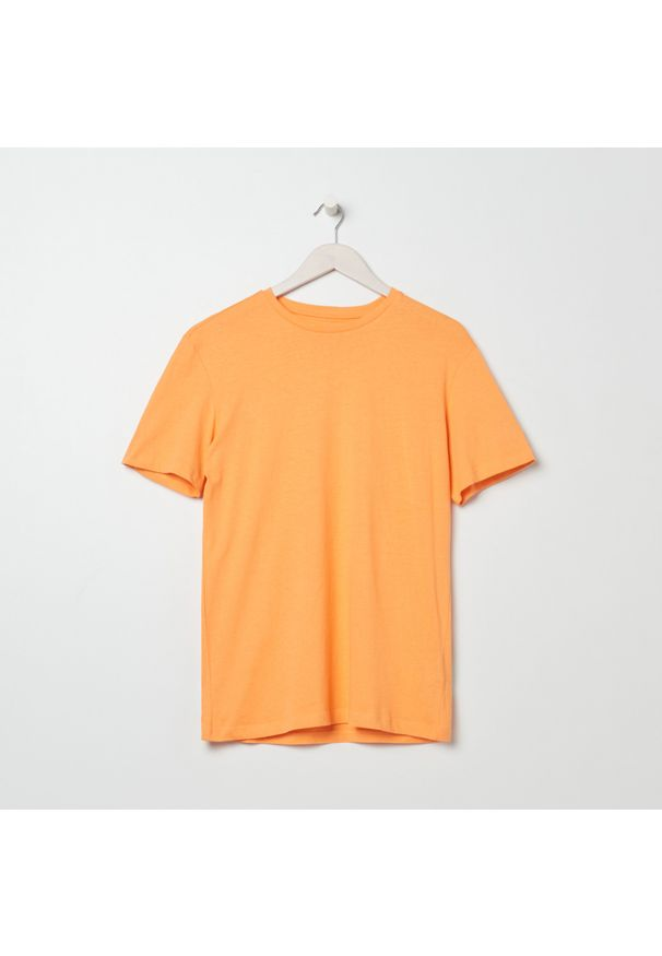Sinsay - Koszulka basic - Pomarańczowy. Kolor: pomarańczowy