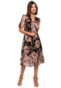 e-margeritka - Sukienka szyfonowa midi z falbaną - s. Typ kołnierza: dekolt w serek. Materiał: szyfon. Wzór: kwiaty. Sezon: lato, wiosna. Typ sukienki: rozkloszowane. Styl: elegancki. Długość: midi