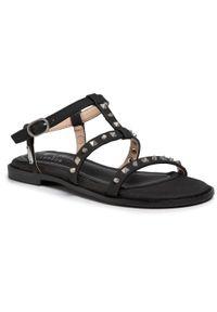 Czarne sandały Pepe Jeans na co dzień, na średnim obcasie, na obcasie