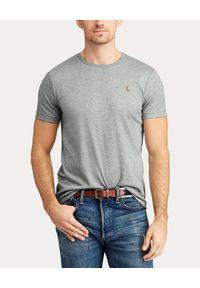 Ralph Lauren - RALPH LAUREN - Szary t-shirt Custom Slim. Typ kołnierza: polo. Kolor: szary. Materiał: jeans, bawełna. Wzór: haft, kolorowy