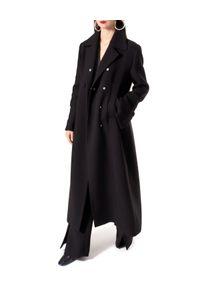 AGGI - Czarny płaszcz Tilda. Kolor: czarny. Materiał: tkanina. Długość: długie. Styl: klasyczny, elegancki