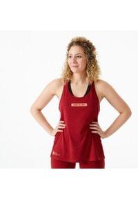 DOMYOS - Top do treningu crossowego damski. Kolor: czerwony. Materiał: poliester, bawełna, materiał. Sport: fitness
