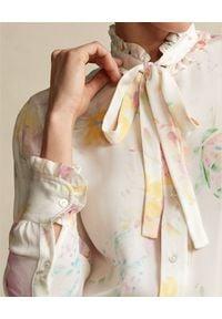 Ralph Lauren - RALPH LAUREN - Jedwabna koszula w kwiaty. Okazja: na co dzień. Typ kołnierza: polo. Kolor: beżowy. Materiał: jedwab. Długość rękawa: długi rękaw. Długość: długie. Wzór: kwiaty. Styl: casual