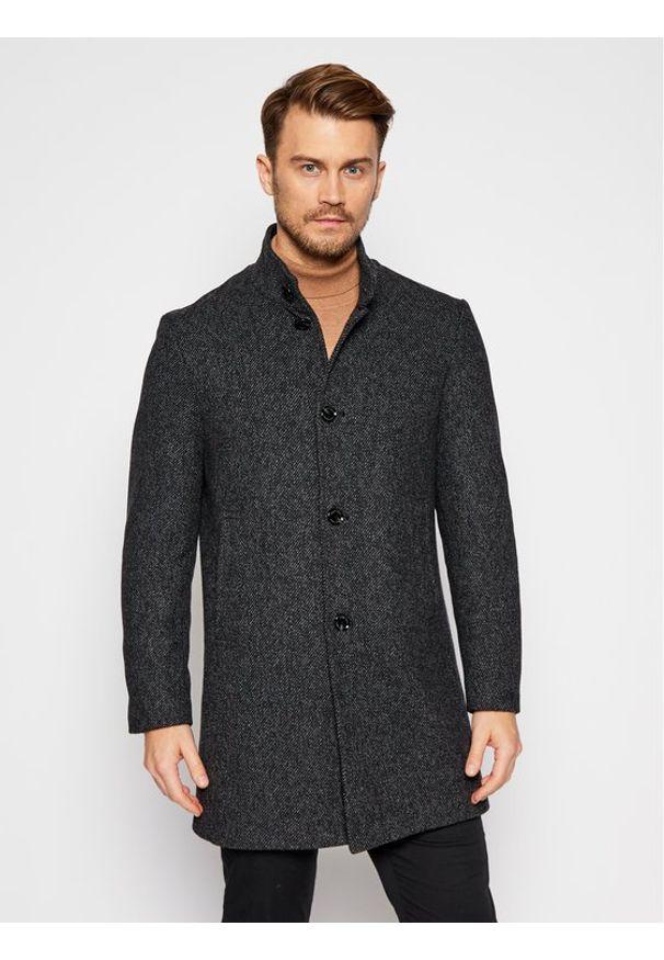 Czarny płaszcz zimowy Pierre Cardin