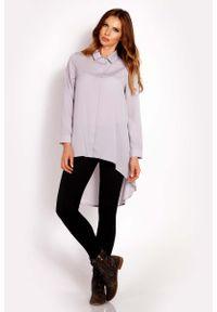 Lou-Lou - Szara Koszula z Asymetrycznym Dołem. Kolor: szary. Materiał: poliester, elastan