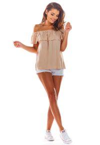 Beżowa bluzka hiszpanka Awama na lato