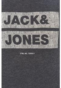 Niebieska koszulka z długim rękawem Jack & Jones z nadrukiem, casualowa, na co dzień