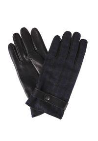 Czarne rękawiczki Lancerto na zimę, w kolorowe wzory, eleganckie