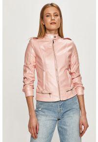 Różowa kurtka Guess na co dzień, gładkie, casualowa