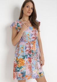 Born2be - Liliowa Sukienka Sylphassea. Kolor: fioletowy. Materiał: tkanina. Długość rękawa: bez rękawów. Wzór: kwiaty, kolorowy. Typ sukienki: trapezowe. Długość: mini