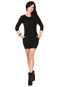 Merribel - Czarna Sukienka Bombka. Kolor: czarny. Materiał: poliester, elastan. Typ sukienki: bombki