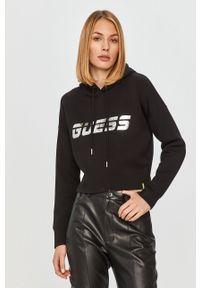 Czarna bluza Guess Jeans z kapturem, z nadrukiem, długa, z długim rękawem