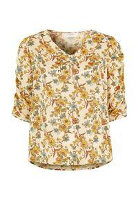 Zielona bluzka Cream w kwiaty, elegancka, z dekoltem w serek