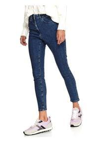 TOP SECRET - Spodnie jeansowe damskie skinny. Stan: podwyższony. Kolor: niebieski. Materiał: jeans. Wzór: aplikacja. Sezon: zima