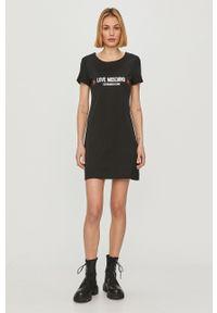Czarna sukienka Love Moschino prosta, z nadrukiem, mini, casualowa