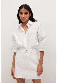mango - Mango - Spódnica jeansowa Rachel. Okazja: na co dzień. Kolor: biały. Materiał: jeans. Styl: casual