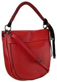 DAVID JONES - Listonoszka damska czerwona David Jones CM5736 RED. Kolor: czerwony. Materiał: skórzane