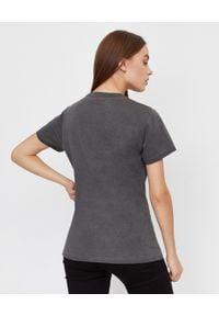 Pinko - PINKO - Szary t-shirt z nadrukiem April. Okazja: do pracy, na co dzień. Kolor: szary. Materiał: bawełna, jeans. Długość rękawa: krótki rękaw. Wzór: nadruk. Styl: klasyczny, casual